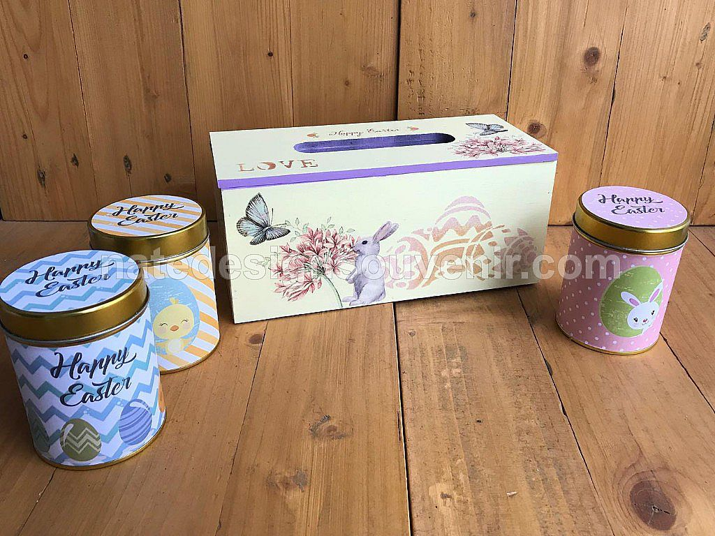 Tissue Box Hamper with 3 Decorated Cans